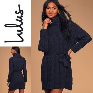 NWT LULUS CableKnit Turtleneck Belted SweaterDress
